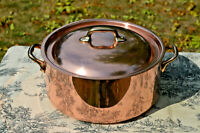 Copper Casserole Villedieu Made in France Stamped Vintage French Pan Copper Pot
