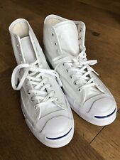 Converse Jack Purcell Hi Top White Leather Mens UK Size 8