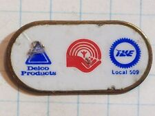 PIN STICK LAPEL OVAL DELCO PRODUCTS UNITED WAY IUE LOCAL 509 RED WHITE BLUE GOLD
