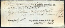 GLASGOW HERALD: Receipt for Advertising, dated 1829. Free UK Post