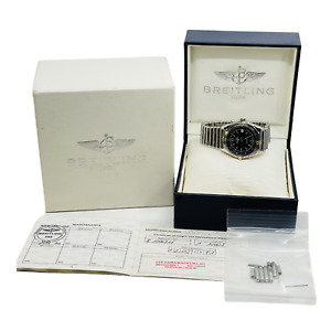 Breitling Antares Blue Dial Stainless 18k Rouleaux Band Watch B10047 Box Papers