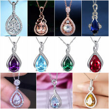 Fashion Jewelry 925 Silver Necklaces Pendants Pear Cut Cubic Zirconia for Women
