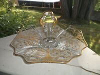 "Cambridge Glass PORTIA Gold Encrusted Handled Plate Sandwich 10 1/2"""