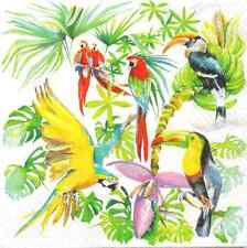4 Single Paper Table Napkins for Decoupage Birds of Paradise Parrot Toucan