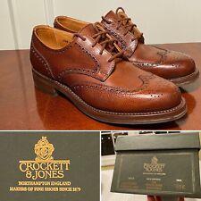 New in Box $630 CROCKETT & JONES Womens Size 6.5-Wide Brown Wingtip Oxford Shoes