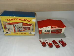 1960s LESNEY MATCHBOX NO. MF-1 GIFT SET G-5 FIRE STATION with vehicles