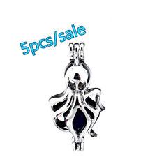 K185-5pcs Bulk Sale ! Silver Long Ocean Octopus Beads Pearl Cage (5-8mm)