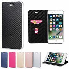Patrón de Lujo de fibra de Carbono Cuero Billetera De pie Estuche Para iPhone Samsung