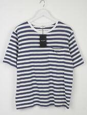 Saint Laurent Hombre Pequeño a Rayas Bolsillo Parche Manga Corta Camiseta 5631_