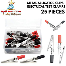 25 Pcs New Solid Bite Metal Alligator Clips Electrical Test Clamps For Soldering