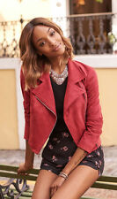 NEW EXPRESS DIVA RED FAUX SUEDE MOTO JACKET SZ XS EXTRA SMALL