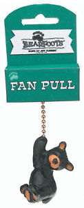 Climbing Bear Midnight Black 2 x 2 Resin Stone and Metal Ceiling Fan Pull Chain