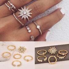 Fashion 6pcs/set Gold Star Moon Rings Women Party Midi Ring Set Jewelry