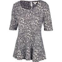 Fat Face - Women's - Peplum Craft Floral Top - Black - 61% Cotton - BNWT