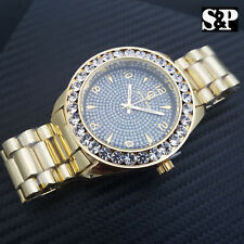 MENS ICED OUT GOLD PT CAPTAIN BLING HIP HOP BIG CZ STONES BLACK DIAL WRIST WATCH