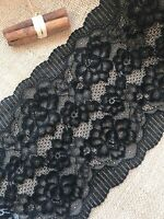 "Black Silky Soft Stretch Lace Wide 7""/18 cm Lingerie Craft Sew Table Runner"