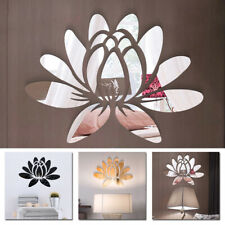 US Modern 3D Flower Mirror Wall Sticker Art DIY Decal Mural Removable Room Decor
