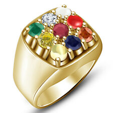 14K Yellow Gold Over Multi Color Stone Navaratri Collection Fashion Men's Ring