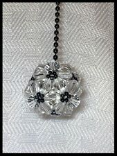 Handcrafted Disco Ball Black & White Ceiling Fan Pull Made W Swarovski Crystal