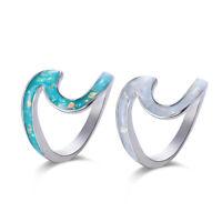 frauen geschenke kreative hochzeit schmuck feuer opal silber wave - ring