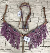 Silver Royal Sweet Pea Headstall Horse Tack  Crystals Floral- Purple Fringe Set