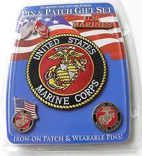 USMC MARINE CORPS US MARINES 4 PIN AND PATCH GIFT SET