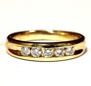 14k yellow gold .50ct VS2-S1H diamond mens wedding band ring 5.2g estate vintage