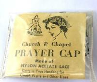 1960'S RELIGION, VTG ladies BLACK LACE PRAYER CAP,  IN ORIGINAL PKG