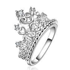 Argento Corona elegante donna sposa matrimonio diametro dell'anello 17 mm