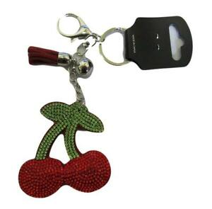 Nw Large Crystal Cherry Cherries Red Pad Fabric Silver Metal Bag Charm Keyring