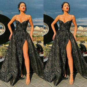 Women Plunge Low Cut Evening Gown Prom Formal High Slit Maxi Sling Glitter Dress