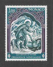Art Postage Stamp Saint St Bernard of Menthon Dog Monaco Red Cross 1974 Mnh