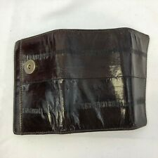 Genuine Eel Skin Trifold Wallet Key Ring Holder Case Snap Close 6 Ring Drk Brown