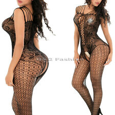 Fishnet Floral Cross Strappy Lingerie Babydoll Teddy Body Catsuit Stocking Black