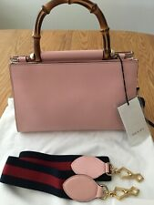 GUCCI Nymphaea Pink Leather Bamboo Handle Removable Strap MEDIUM Bag $2690 NWT