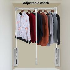 Wardrobe Clothes Hanging Rail Lift/Pull Down Adjustable Width Space Saving Usa
