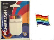 Fanbrush Rainbow Face Paint & Free Rainbow Pin Badge Diversity Pride Symbol LGBT