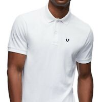True Religion Men's Classic Horseshoe Embroidered Logo Polo Shirt in White