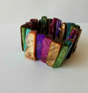 Vintage Chunky Mother of Pearl MOP Shell Stretch Bracelet Multi-Color