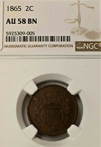 1865 Two Cent Piece NGC AU 58 Nice Coin Super NICE !!
