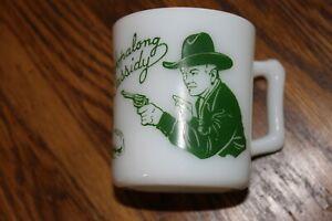 Vintage 1950s GREEN Hopalong Cassidy Childs Milk Mug Cup Hazel Atlas White Glass