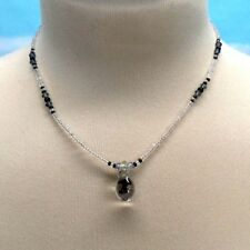 Black Mushroom Glass Pendant Necklace Glass Bead Choker 15 Inch Long