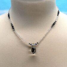 Black Mushroom Necklace Glass Pendant Glass Bead Choker 15 Inch Long