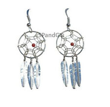 3 Feathers Red Coral Bead Sterling Silver Genuine Navajo Jewelry Dreamcatcher