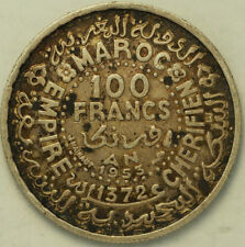 1953 SILVER ABOUT UNCIRCULATED MOROCCO 100 FRANCS FREE SHIPPING