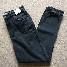 Topshop MOM Wash Black Rip Hem Jeans UK12 W30 L32 NEW