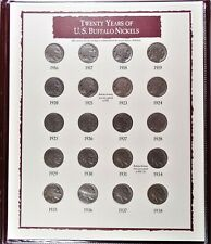Year Set of 20 Buffalo Nickels 1916-1938 with Indian & Buffalo Stamps