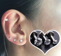 CZ Labret Monroe Lip Bar Tragus Cartilage Helix Ear Ring Stud Upper Ear Piercing
