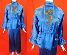 New listing Vintage Japanese Blue Satin Gold Couching Embroidered Dragon Palazzo Pajamas Set