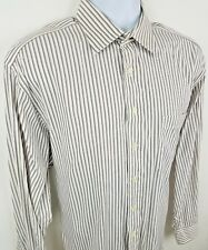 Hickey Freeman White Blue Striped Long Sleeve Button Front Dress Shirt 16.5 34